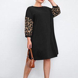 Shein Women's Plus Leopard Print Sleeve Tee Dress